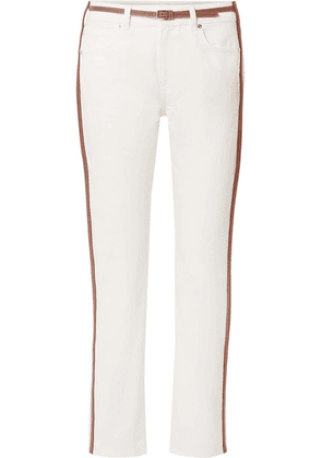 Burberry - Leather-trimmed Mid-rise Straight-leg Jeans - White