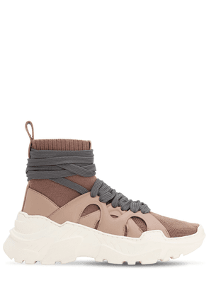 40mm Cashmere & Leather Sneakers