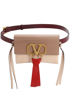 V Ring 3 Color Smooth Leather Belt Bag