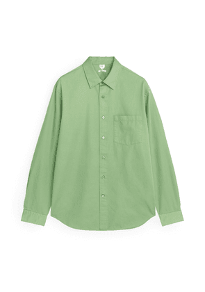 Cotton Twill Relaxed Shirt - Green