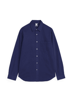 Cotton Twill Relaxed Shirt - Blue