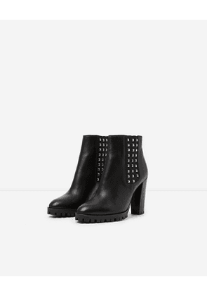 The Kooples - black heeled leather ankle boots with studs - black