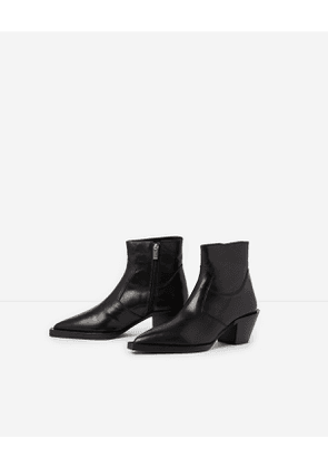 The Kooples - western-style black leather ankle boots - black