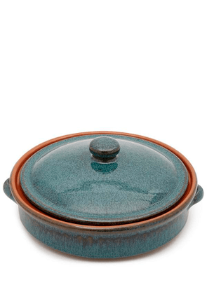 Peacock Green Terracotta Round Dish With Lid