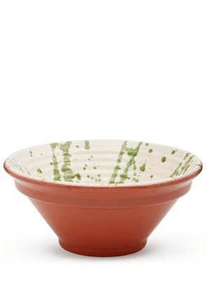 Medium Green Splatter Terracotta Bowl