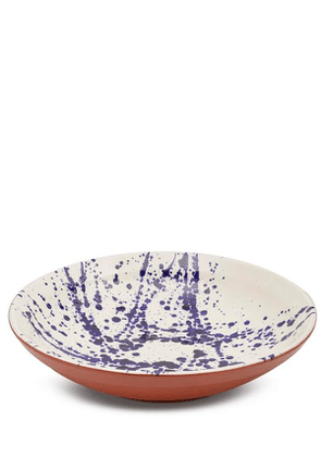 Large Blue Splatter Terracotta Bowl