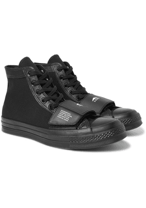 Converse - + Neighborhood Chuck 70 Moto Rubber-trimmed Leather And Canvas High-top Sneakers - Black