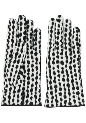 Raf Simons abstract pattern gloves - White