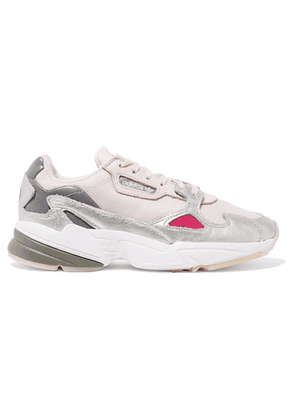 adidas Originals - Falcon Mesh, Suede And Metallic Leather Sneakers - Gray