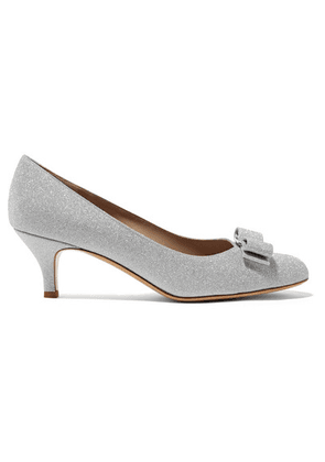 Salvatore Ferragamo - Carla Bow-embellished Glittered Leather Pumps - Silver