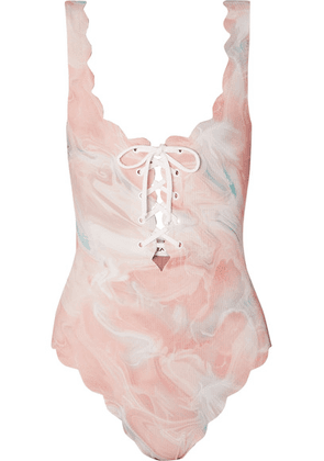 Marysia - Palm Springs Scalloped Lace-up Printed Stretch-crepe Swimsuit - Pastel pink