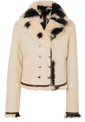 Chloé - Reversible Double-breasted Shearling Jacket - Ivory