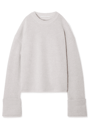 Stella McCartney - Cold-shoulder Ribbed Wool Sweater - Light gray