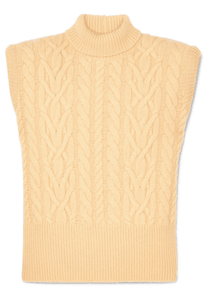 Attico - Cable-knit Wool Turtleneck Sweater - Pastel yellow