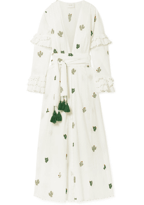 we are LEONE - Embroidered Swiss-dot Cotton Robe - White