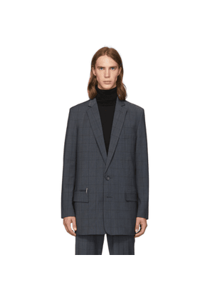 Tibi SSENSE Exclusive Grey Wool Windowpane Check Long Blazer