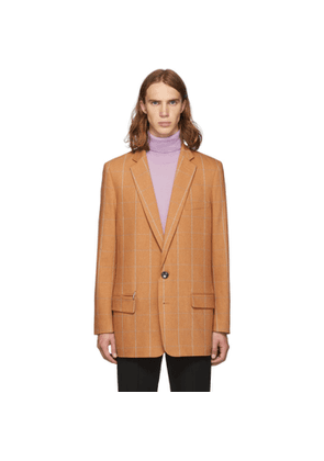 Tibi SSENSE Exclusive Orange Check Wool Long Blazer