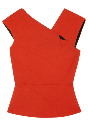 Roland Mouret - Florence Cutout Wool-crepe Top - Orange