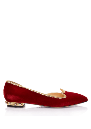 Charlotte Olympia Flats Women - BEJEWELLED KITTY D'ORSAY FIRE RED&CRYSTAL Velvet 36