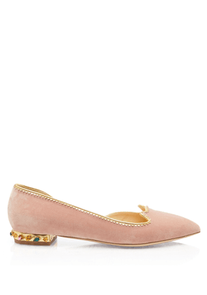 Charlotte Olympia Flats Women - BEJEWELLED KITTY D'ORSAY PETAL PINK&MULTICOLOR Velvet 36