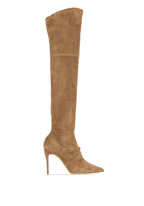 Jennifer Chamandi Brown Alessandro Suede Over The Knee Boots