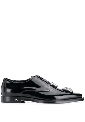 Dolce & Gabbana crystal embellished lace-up shoes - Black