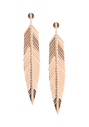 Cadar 18kt rose gold large feather drop earrings