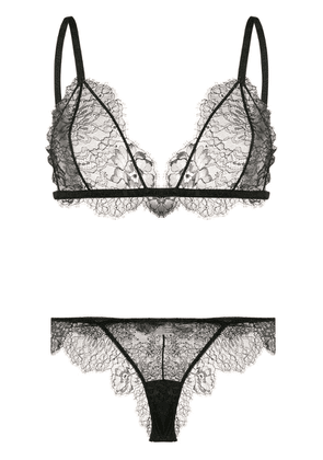 Off-White two-piece sheer lace set - Black