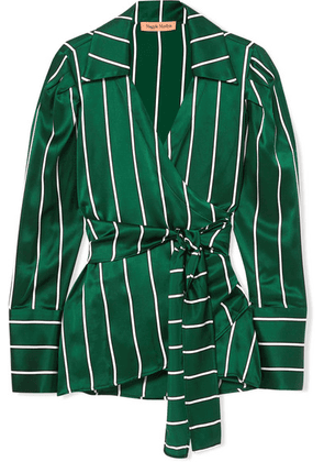 Maggie Marilyn - Wrap It Up Striped Silk-satin Shirt - Jade