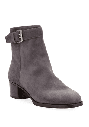 Suede Booties with Buckle