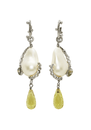 Givenchy Silver and Green Charm Pearl Earrings