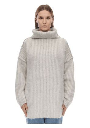 Wide Collar Mohair Blend Knit Sweater