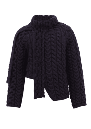 Lanvin - Asymmetric Cable Knit Wool Sweater - Mens - Navy