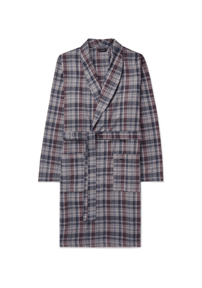 Hanro - Belted Checked Cotton Robe - Navy