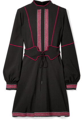 Anna Sui - Belted Embroidered Crepe Mini Dress - Black