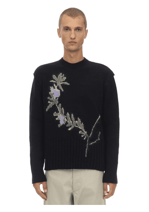 Jacquard Virgin Wool Blend Knit Sweater