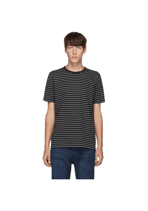 Frame Black and Grey Ringer Stripes T-Shirt