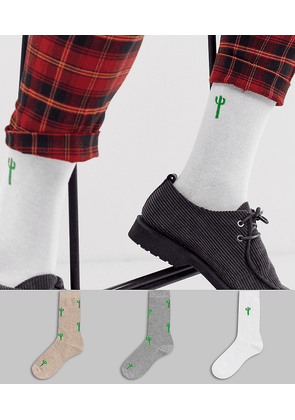 ASOS DESIGN 3 pack ankle sock with cactus print save