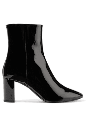 SAINT LAURENT - Lou Patent-leather Ankle Boots - Black