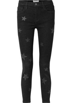 Current/Elliott - The Stiletto Printed High-rise Skinny Jeans - Black