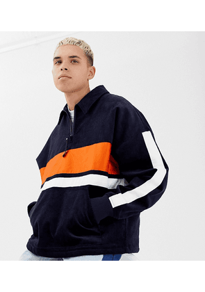 COLLUSION cord colour blocked jacket in navy