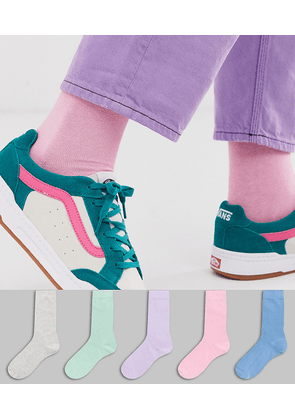 ASOS DESIGN 5 pack ankle sock with pastel colour save