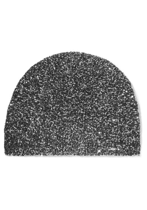 SAINT LAURENT - Sequined Crochet-knit Beanie - Black