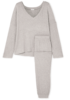 Eberjey - Elon Ribbed Stretch-jersey Pajama Set - Gray