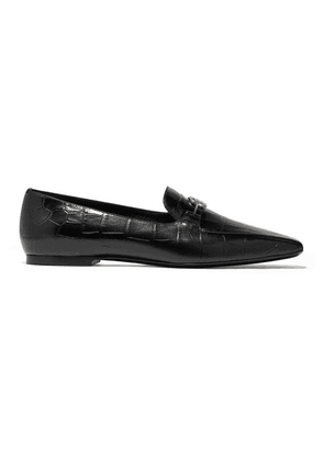 Burberry - Logo-embellished Glossed Croc-effect Leather Loafers - Black