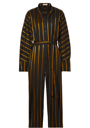 palmer//harding - Solo Belted Striped Metallic Jacquard Jumpsuit - Charcoal