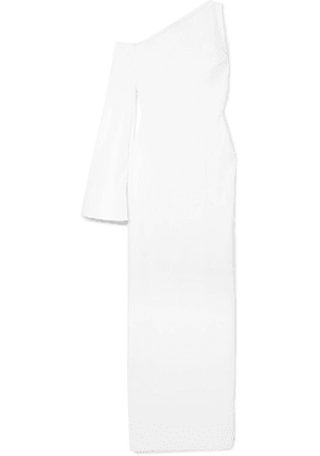 Solace London - Siara One-sleeve Stretch-crepe Gown - White