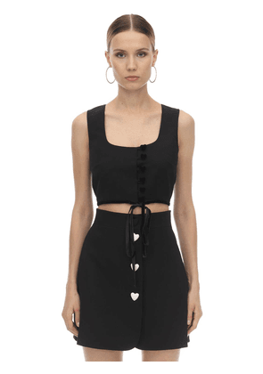 Heart Buttoned Crepe Crop Top W/ Velvet