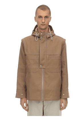 Hooded Cotton Blend Canvas Jacket