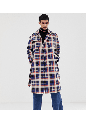 COLLUSION trench coat in blue and tan check